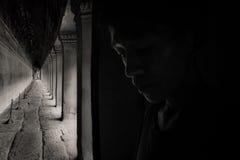 De tunnel van Angkorwat B&W, ART. royalty-vrije stock afbeelding