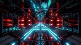 De tunnel van het achtergrond camouflageleger ruimtebehang 3d teruggevende vj lijn royalty-vrije illustratie