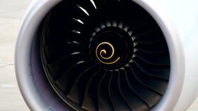 De turbine dichte omhooggaand van de vliegtuigmotor stock footage