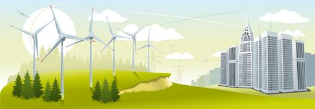 De turbinepark van de wind Royalty-vrije Stock Foto's