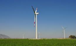 De turbines van de wind achter katoenen gebieden stock foto's