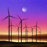 De turbines van de wind bij nacht vector illustratie