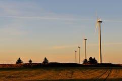 De turbines van de wind in de avond zon Stock Fotografie