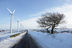 De turbines van de wind in de winter Royalty-vrije Stock Foto