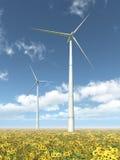 De turbines van de wind en zonnebloemen Stock Fotografie