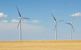 De turbines van de wind, geel gebied Stock Foto