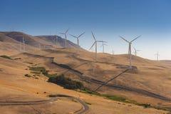 De turbines van de wind, geel gebied Royalty-vrije Stock Foto's