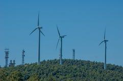 De turbines van de wind, geel gebied Stock Fotografie