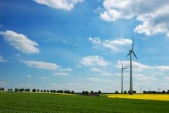 De turbines van de wind in groene weiden Royalty-vrije Stock Foto