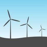 De turbines van de wind op groen gebied Stock Afbeelding