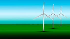 De turbines van de wind op groen gebied stock illustratie