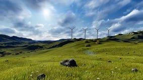 De turbines van de Windfarmwind op een zonnig landschap stock video