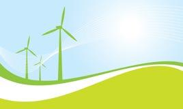 De turbines vectorillustratie van de wind Stock Afbeelding
