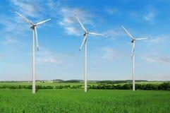 De turbineslandbouwbedrijf van de wind Royalty-vrije Stock Fotografie
