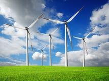 De turbineslandbouwbedrijf van de wind stock afbeelding