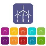 De turbinespictogrammen van de windgenerator geplaatst vlak Royalty-vrije Stock Fotografie