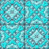 De turkooise blauwe bloementextuur van het keramische tegels naadloze patroon Royalty-vrije Stock Fotografie