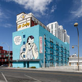 De turkooise bouw in Las Vegas van de binnenstad stock foto's