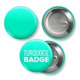 De turkooise Vector van het Kentekenmodel Pin Brooch Turquoise Button Blank Twee Kanten Voor, Achtermening Het brandmerken 3D Ont vector illustratie