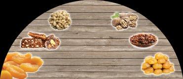 De Turkse noten, Turks spreken: kuruyemis royalty-vrije stock afbeelding