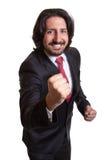 De Turkse zakenman is gelukkig over zijn succes Royalty-vrije Stock Foto