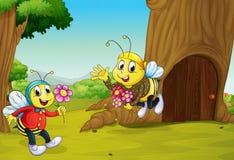De twee bijen dichtbij een treehouse vector illustratie