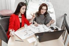 De twee binnenlandse ontwerpers werken bij het nieuwe binnenlandse ontwerpproject in het bureau stock foto's