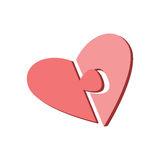 De twee helften van het hart op een witte achtergrond Delen van het raadsel Pictogram voor website en groetkaarten voor de dag va Stock Fotografie