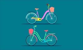 De twee huisfiets vlakke kleurrijke moderne stijl Vector illustratie EPS10 royalty-vrije illustratie