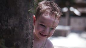 De twee-jaar-oude peuter weinig jongen bij het spelen met zijn ouders, die achter een boom, spelhuid verbergen - en - zoekt Langz stock videobeelden