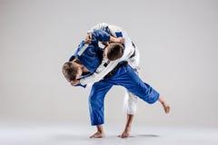 De twee judokasvechters die mensen bestrijden Royalty-vrije Stock Fotografie