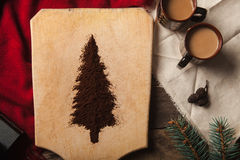 De twee koppen van koffie op houten achtergrond Stock Foto's