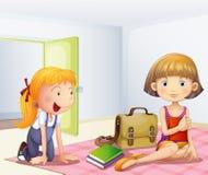 De twee meisjes binnen een ruimte met boeken vector illustratie