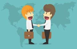 De twee zakenliedenschok overhandigt wereldkaart Beeldverhaal van zaken s Stock Foto