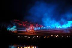 De tweede hoofdstuk` lamp ` - de rivieroever op grote schaal toont ` Jinggangshan ` Stock Foto