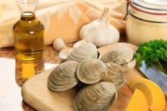 De Tweekleppige schelpdieren van Littleneck in de Keuken Stock Afbeeldingen