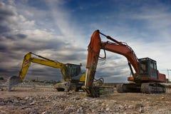 De tweelingen van de bulldozer stock fotografie