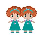 de tweelingen van een meisje houden handen, zijn twee zusters kleine leuke meisjes vector illustratie