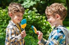 De tweelingjongens houden lollys Stock Foto's