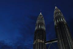 De tweelingTorens Petronas waren het langste gebouw Stock Afbeeldingen