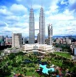 De TweelingTorens van Petronas, Kuala Lumpur, Maleisië. Stock Fotografie