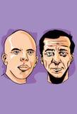 De tweepersoonsgezichten, de vader en de zoon in trekken Stock Fotografie