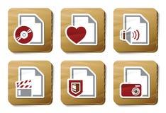 De types van dossier pictogrammen | De reeks van het karton Stock Foto