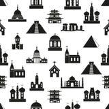 De types van wereldgodsdiensten van het naadloze patroon eps10 van tempelspictogrammen Royalty-vrije Stock Foto's