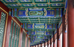 De typische architectuur van China, gesneden stralen en geschilderde daksparren stock afbeelding
