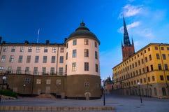 De typische gotische kleurrijke gebouwen van Zweden, Stockholm, Zweden royalty-vrije stock foto's