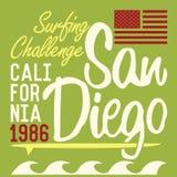 De typografie van Californië San Diego, het ontwerp van de t-shirtdruk, Etiket van Applique van het de Zomer het vectorkenteken Royalty-vrije Stock Foto