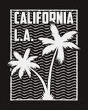 De typografie van Californië voor ontwerpkleren met silhouetpalmen en golven Grafiek voor t-shirt, kleding, drukzegel Vector Stock Afbeeldingen