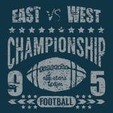De typografie van de voetbalsport, het ontwerpgrafiek van de t-shirtdruk, vectoraffiche, het Etiket van Kentekenapplique Royalty-vrije Stock Foto's