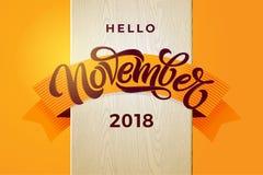 De typografie van Hello November Moderne borstelkalligrafie met oranje lint op witte houten textuur Het vector van letters voorzi royalty-vrije illustratie